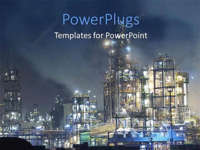 PowerPoint Template: Oil refinery surrounded with steaming fumes in