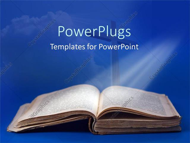 Powerpoint Template An Old Bible And Cross For Religious