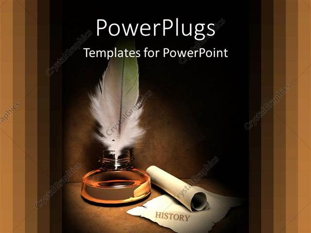 Powerpoint template old fashioned gold quill and scroll for history powerpoint template displaying old fashioned gold quill and scroll for history time and past metaphors on toneelgroepblik Choice Image