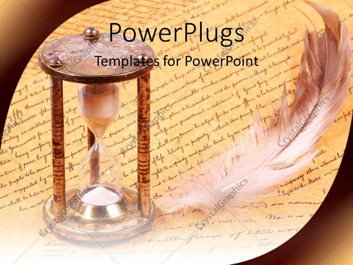 Powerpoint template old fashioned hourglass and feather with powerpoint template displaying old fashioned hourglass and feather with scroll history alramifo Gallery