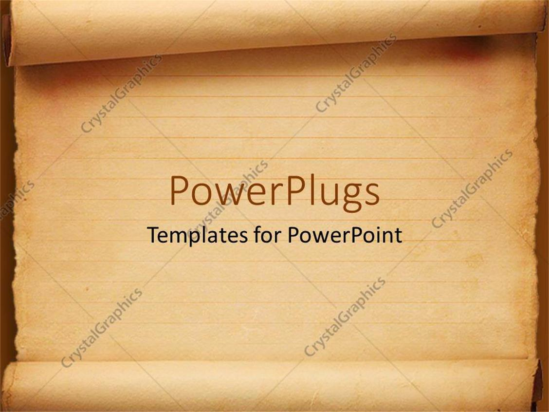 PowerPoint Template Displaying Old Fashioned Worn Down Red Scroll Paper with Lines to Write as a Metaphor on a Orange Background