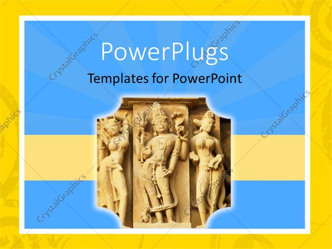 PowerPoint Template: Old Indian statue\'s carved into a wall with ...