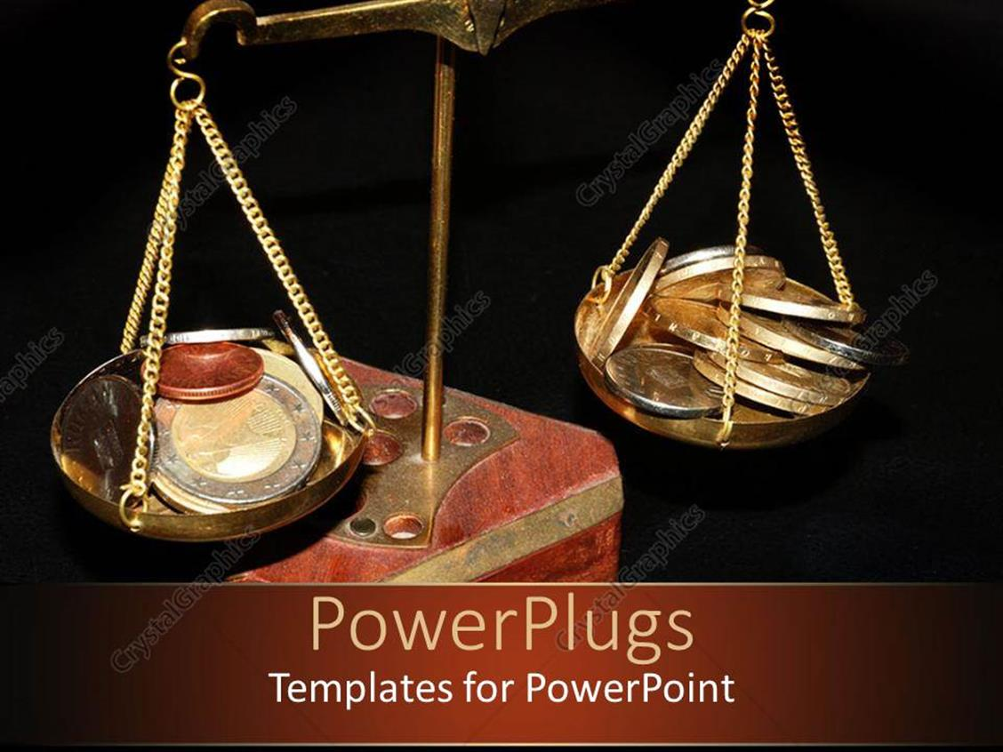 PowerPoint Template Displaying Old Metallic Scale Balance with Coins on the Plates