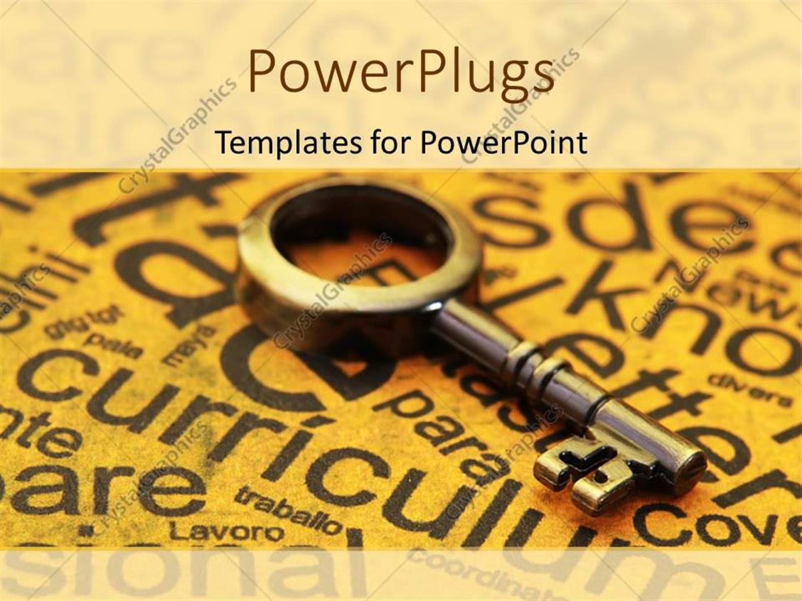 PowerPoint Template Displaying Old Skeleton Key Laying on Yellowed Paper Covered with Education Related Words