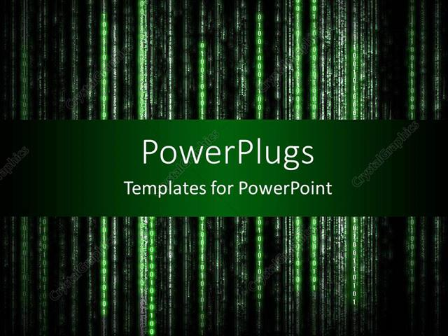 Powerpoint Template Old Style Computer Display With Green