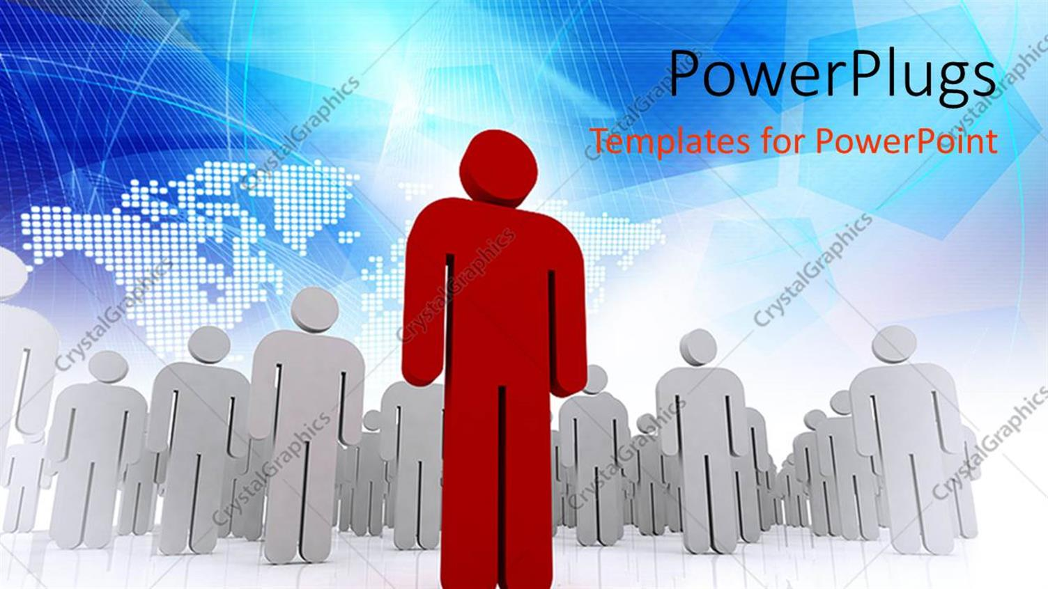 PowerPoint Template Displaying a Leader in Front of the other Ones with Map in the Background