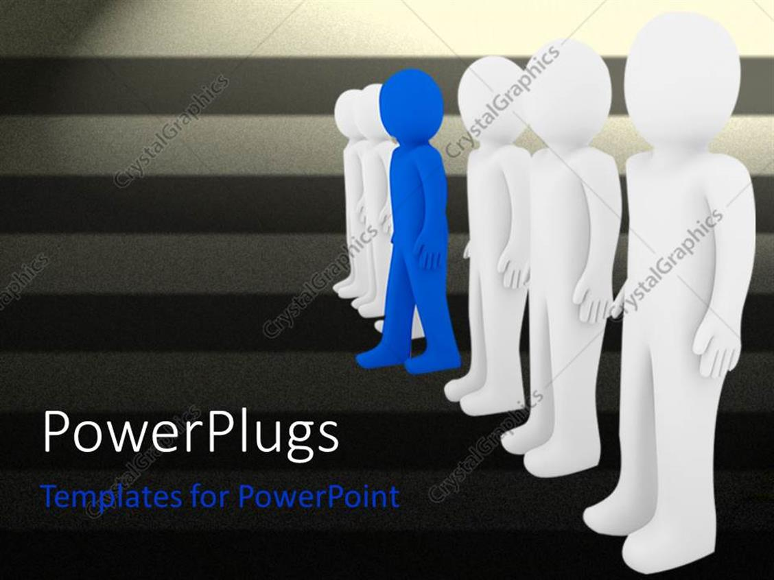 PowerPoint Template Displaying One Blue Figure Stepping Away from Row of White Figures