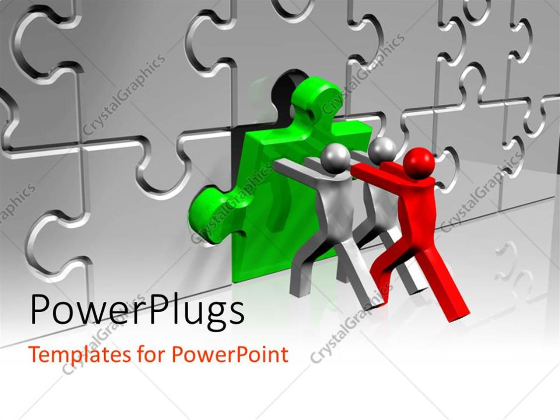 PowerPoint Template: One red and two silver figures pushing green ...