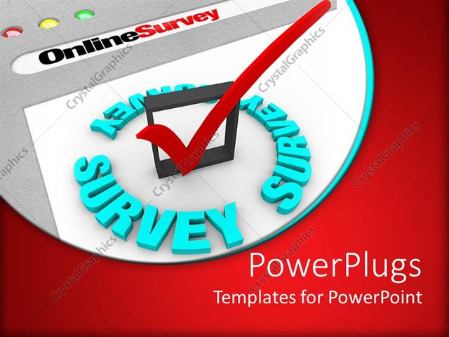 Powerpoint template the online survey and the check mark to powerpoint template displaying the online survey and the check mark to gather information toneelgroepblik Images
