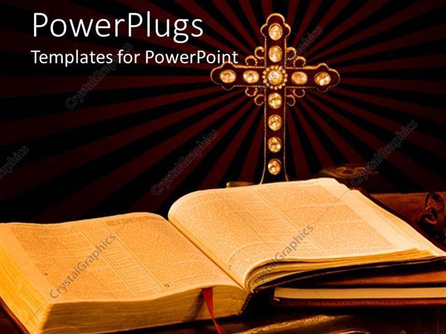 Powerpoint Template Open Bible Journal And Antique Cross