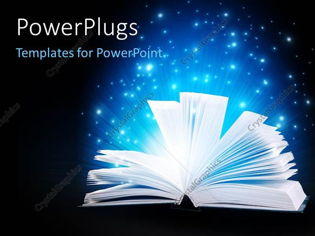 Powerpoint Template Open Book With Pages Fanned Giving Off