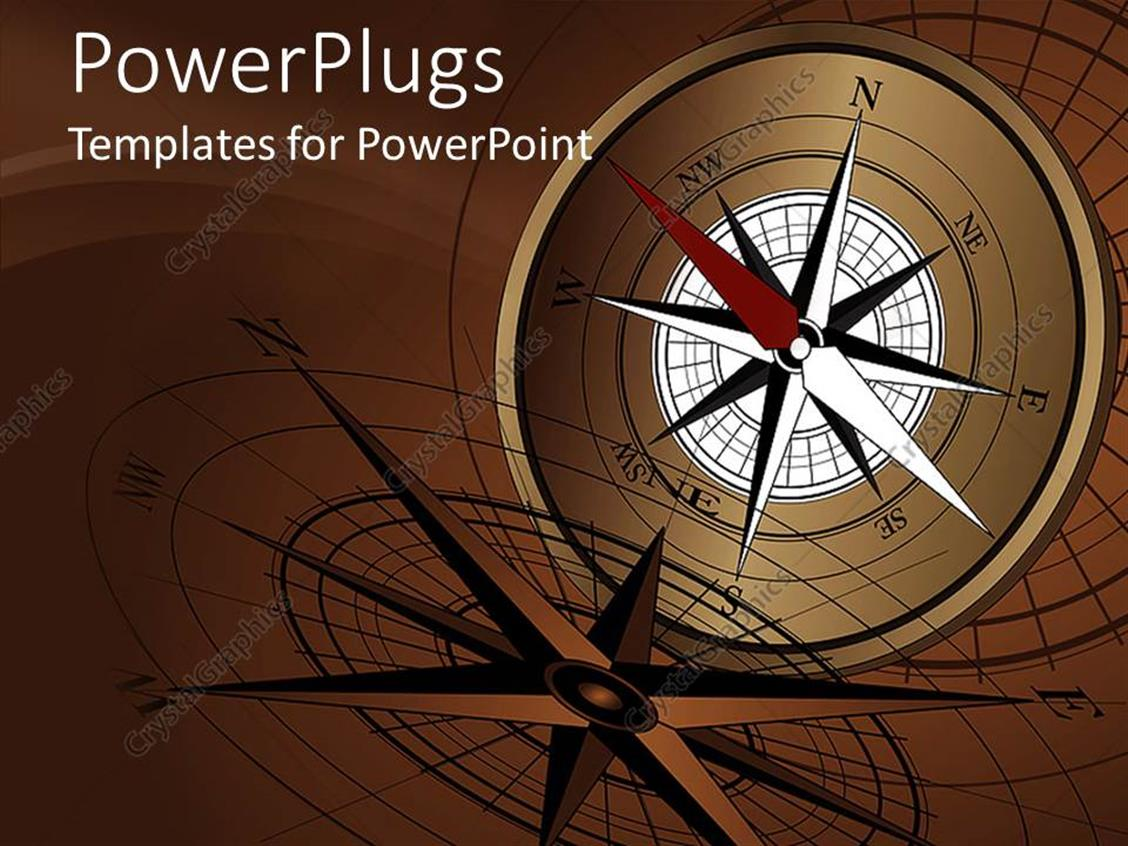 PowerPoint Template Displaying an Open Brown Compass on an Abstract Brown Background