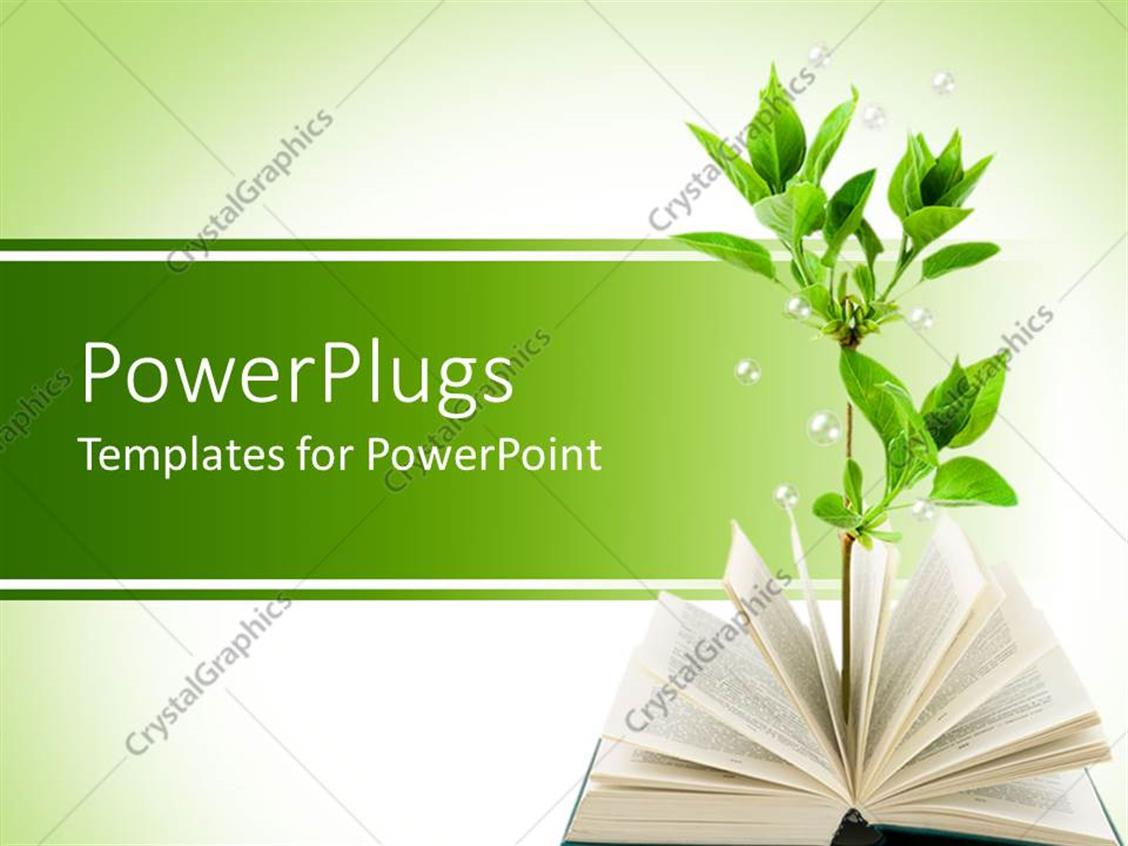 Powerpoint Template Opened Book With Green Plant Growing