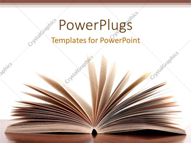 Powerpoint template opened pages of book on desk with white powerpoint template displaying opened pages of book on desk with white background and brown frames toneelgroepblik