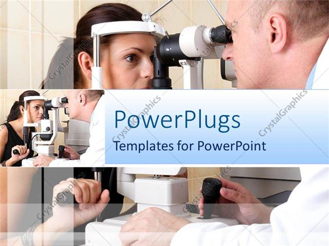 Powerpoint template ophthalmology theme with doctor checking on powerpoint template displaying ophthalmology theme with doctor checking on womans eyes toneelgroepblik Images