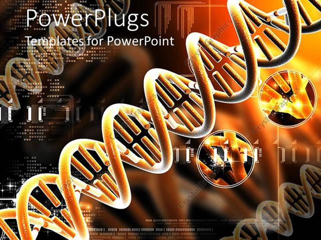 PowerPoint Template Displaying Orange Colored DNA Structures on an Orange and Back Background E