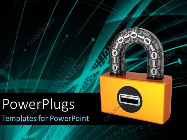 powerpoint template orange digital padlock with binary code in