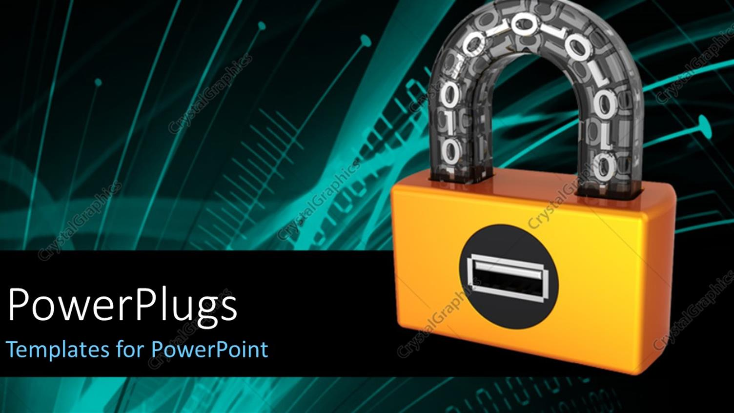 PowerPoint Template Displaying Orange Digital Padlock with Binary Code in Transparent Arch and Tech Design in the Background