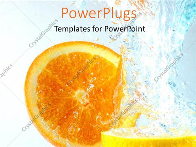 PowerPoint Template Displaying Orange and Lemon Slices in Water Splash