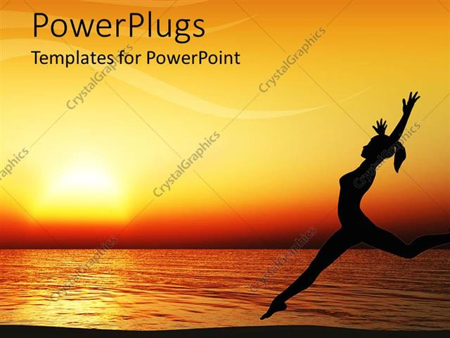 PowerPoint Template Displaying Orange Sunset Behind Woman Dancing on Beach