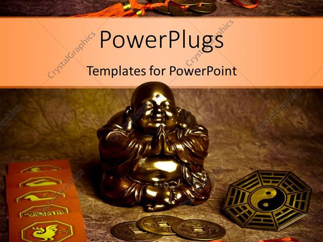 Powerpoint Template Oriental Coins And Religious Symbols Around