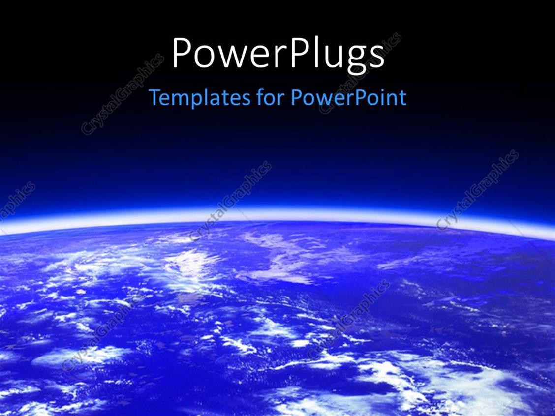 PowerPoint Template Displaying the Outer View of the Earth with Bluish Background