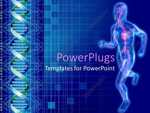 Powerpoint Template Outline Of Man Running With Cardiovascular