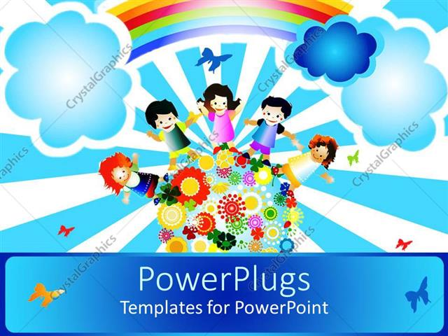 PowerPoint Template Displaying a Painting of Four Happy School Kids Standing on an Earth with Flowers