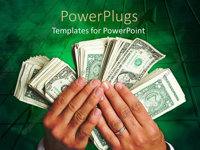 PowerPoint Template Displaying a Pair of Hands Holding Bundles of Currency Notes