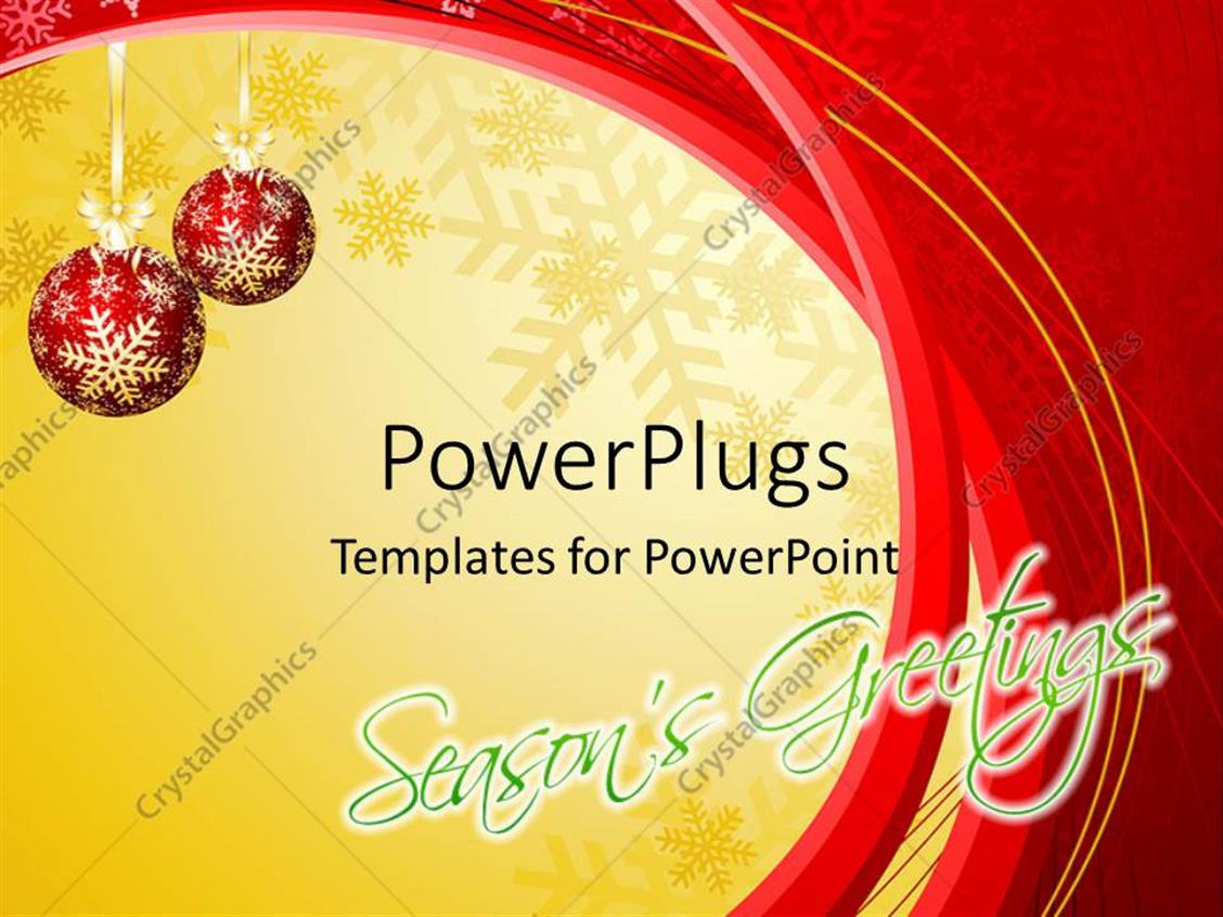 PowerPoint Template Displaying a Pair of Red Balls with Yellow and Reddish Background