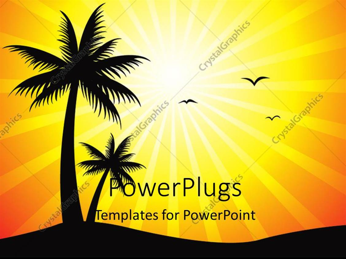 PowerPoint Template Displaying a Palm Tree with Birds and Sun in the Background