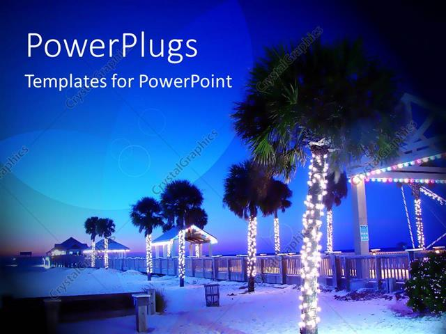 Powerpoint Template Palm Trees Decorated With Christmas Lights On