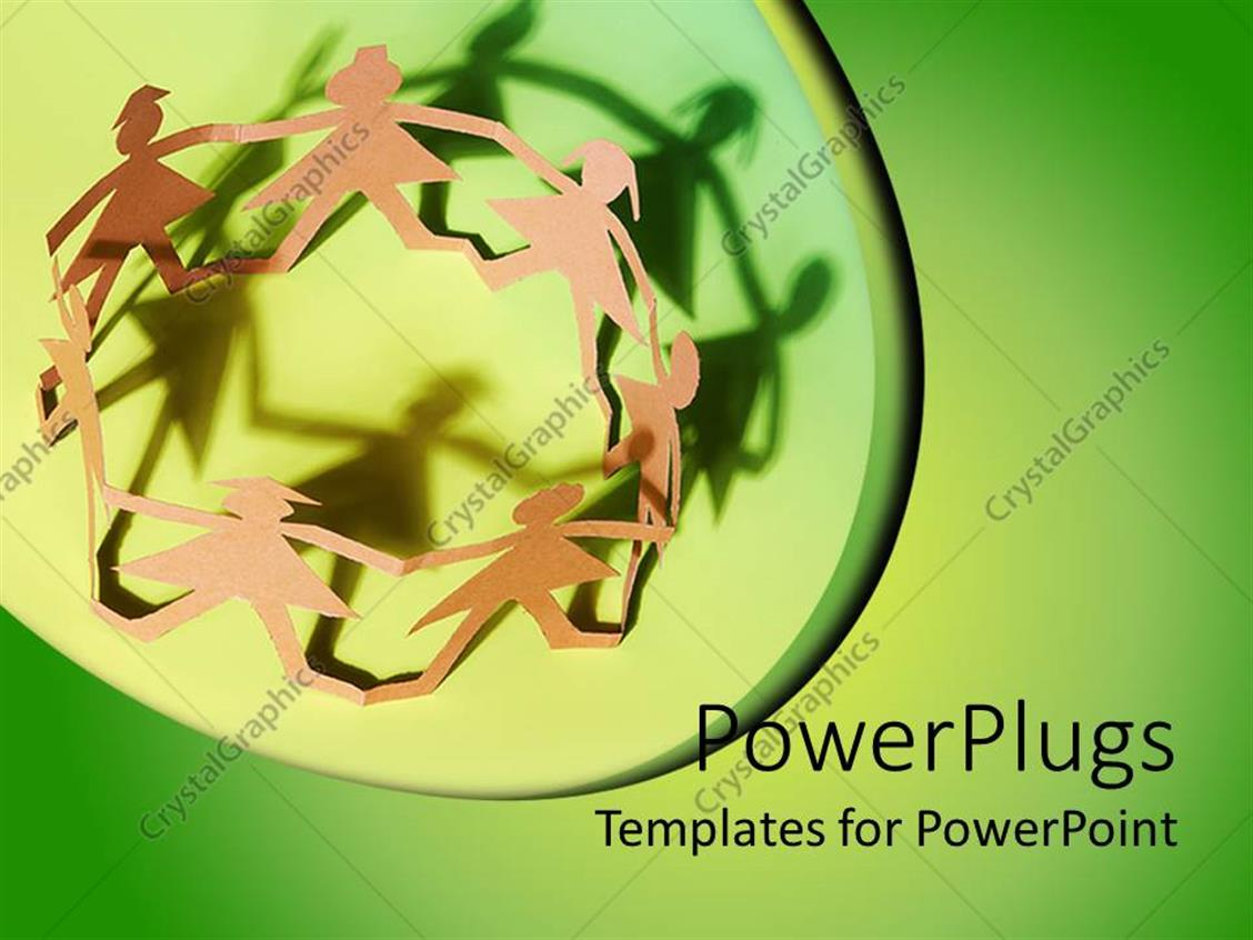 powerpoint template paper cut dolls in circle holding