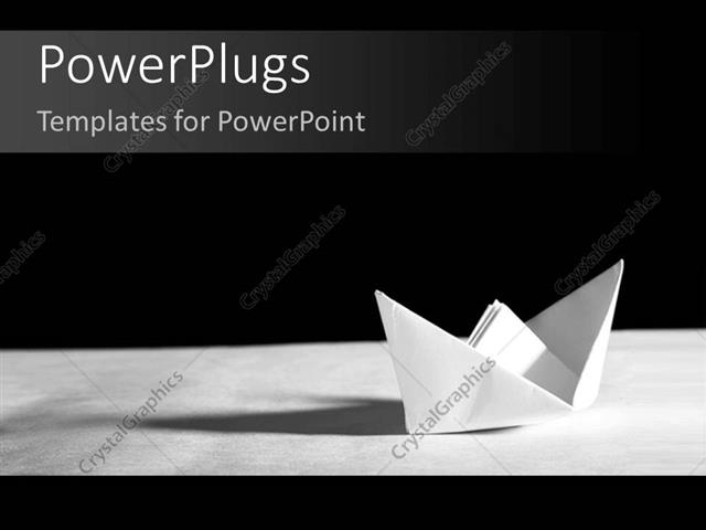 Powerpoint template a paper made boat on a white surface and black powerpoint template displaying a paper made boat on a white surface and black background toneelgroepblik Images