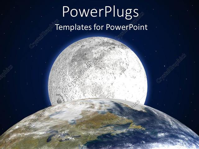 powerpoint template partial depiction of planet earth with moon in