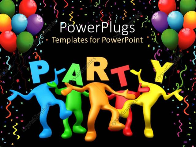 Powerpoint Template Party Celebration Balloons Birthday Dancing