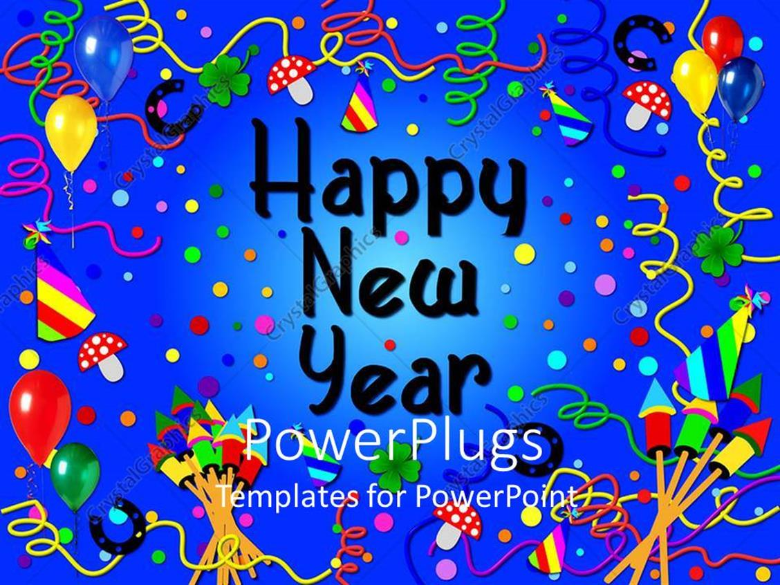 Powerpoint Template Party Scene With A Happy New Year Text On A Blue Background 22118