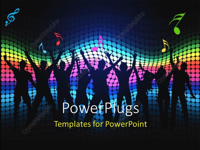 Powerpoint template party theme having silhouettes of people powerpoint template displaying party theme having silhouettes of people dancing with colorful lights toneelgroepblik Image collections