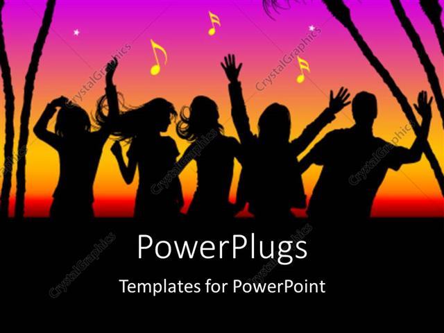 Powerpoint template party theme silhouette dancing with trees powerpoint template displaying party theme silhouette dancing with trees and multi colors toneelgroepblik Images