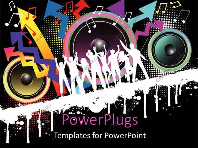 Powerpoint template party theme with silhouettes dancing with powerpoint template displaying party theme with silhouettes dancing with speakers toneelgroepblik Image collections