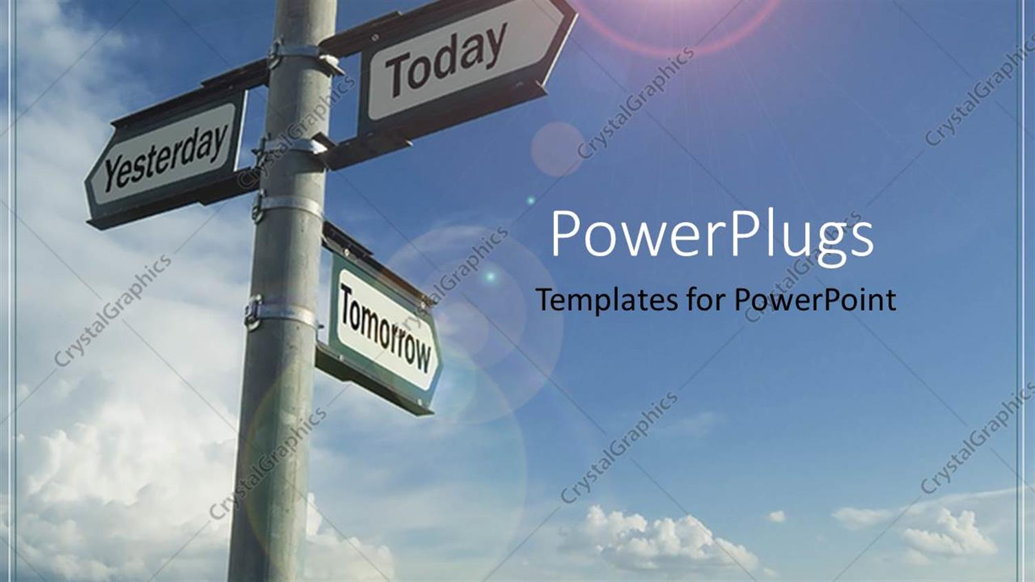 PowerPoint Template Displaying Past Present Future Street Signs Directions Decisions Choices
