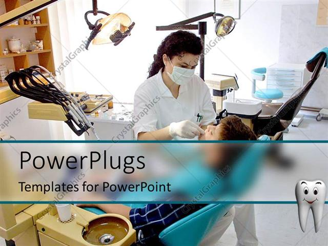 Powerpoint template patient and female dentist in dental office powerpoint template displaying patient and female dentist in dental office equipment chair oral hygiene toneelgroepblik Images