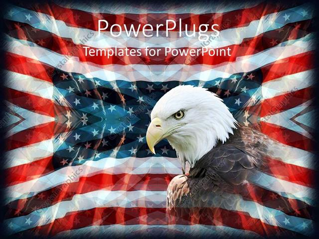 PowerPoint Template: Patriotic background with American flag, bald ...