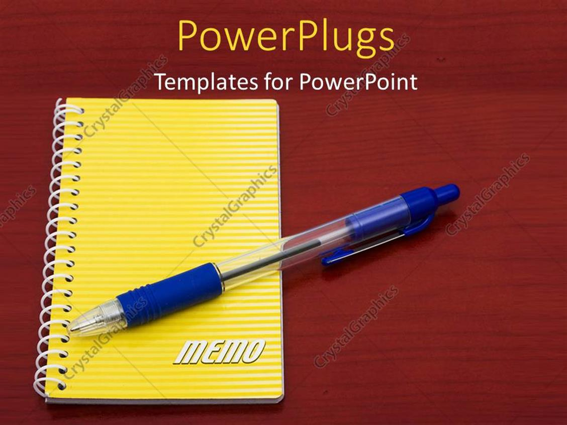 Powerpoint Template Pen And Yellow Notepad Placed On Red