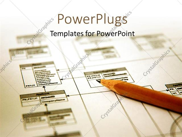 Powerpoint template pencil with a printout of a database schema powerpoint template displaying pencil with a printout of a database schema with white color ccuart Gallery