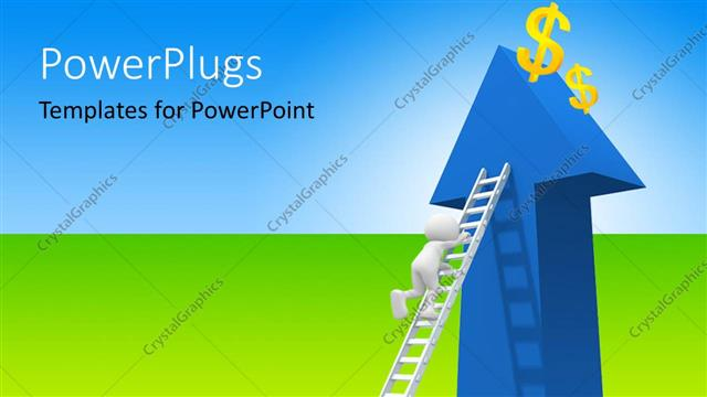 PowerPoint Template Displaying 3D Man Climbing Ladder to Dollar Symbol on Blue Arrow