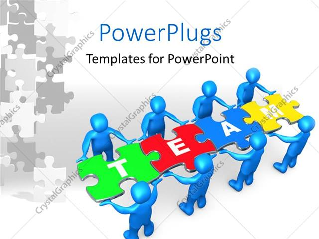 PowerPoint Template: People holding pieces of a jigsaw puzzle with ...