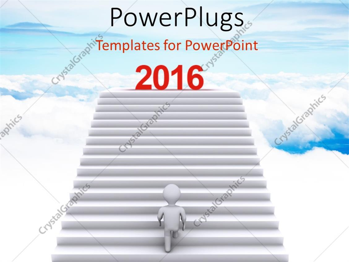 PowerPoint Template: Person climbing stairs that have the word ... for Climbing Stairs To Success  165jwn
