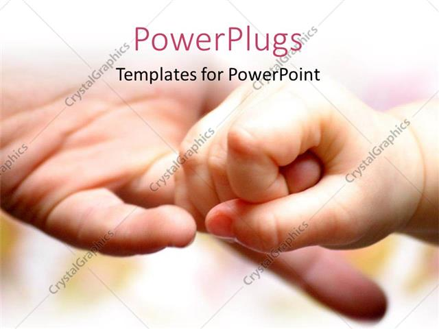 PowerPoint Template Displaying a Person Finger is Being Held by a Child