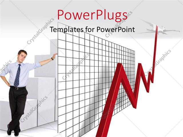 PowerPoint Template Displaying a Person with a Growth Chart with Greyish Background